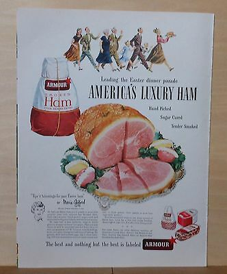 1948 magazine ad for Armour Ham - Leading the Easter Dinner Parade, Luxury Ham
