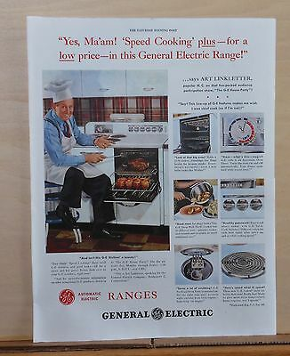 1948 magazine ad for GE Electric Ranges - Art Linkletter likes Speed Cooking