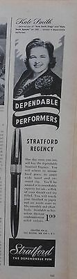 1946 magazine ad for Stratford Pens - Kate Smith another Dependable Performer