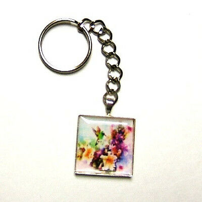 Colorful Hummingbird And Flowers Key Chain Key Ring Keychain Artisan Crafted