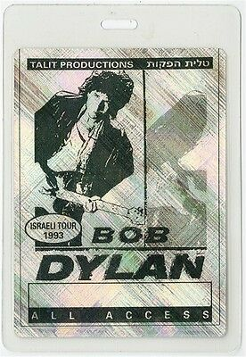 Bob Dylan authentic 1993 concert Laminated Backstage Pass Israeli Tour Talit AA