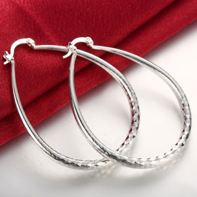 Womens 925 Sterling Silver Large 55mm Oval Vogue Hoop Fashion Earrings #E85