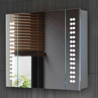 New 60 LED Illuminated Bathroom Cabinet Mirror with Sensor Demister and Shaver
