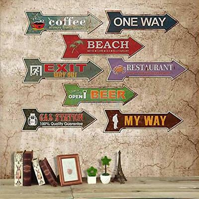 Vintage Style Arrow Shaped Iron Metal Hand Painted Cafe Pub Wall Decor Plaque