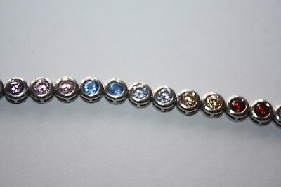 "STERLING SILVER MULTI GEMSTONE TENNIS BRACELET 7.25"" / 18cm"