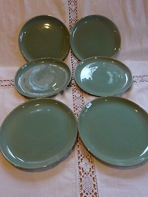 Set of Six Denby Manor Green Tea Plates 17cm