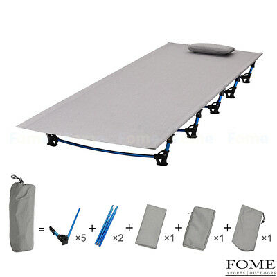 Folding Aluminium Alloy Camping Cot Off Ground Bed with Pillow Case for Adults