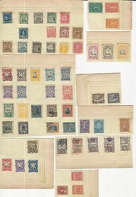 El Salvador: Lot of 100 diff. stamps on sheets of paper used and unused. ES12