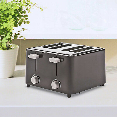 4 Slice Toaster Black Kitchen Toaster Bread Toast Extra-Wide Slot Bagel Waffle