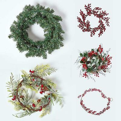 Artificial Christmas Wreath Door Wall Decoration with Berries and Baubles