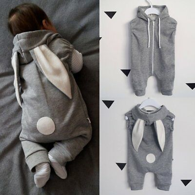 Newborn Infant Baby Girls Boys Rabbit Ear Hooded Romper Jumpsuit Outfit Clothes
