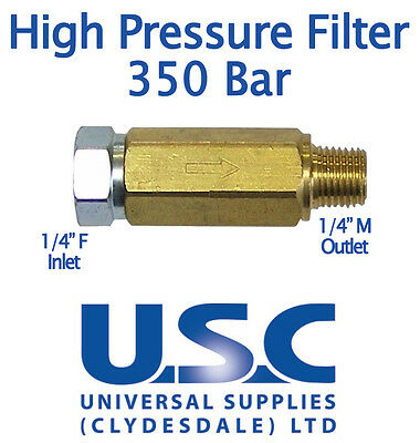 """1/4"""" High Pressure In-line Water Filter 350 Turbo Nozzle Washer Jet Wash Brass"""