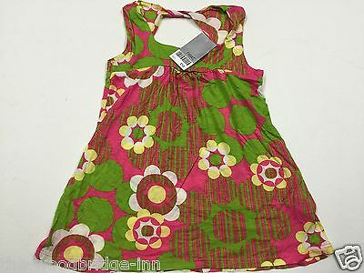 Bnwt Next Age 3 Years Green / Pink Floral Girls Sleeveless Dress (Rrp £10) 8T