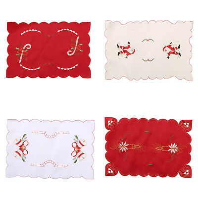 Christmas Dinner Mat Cushion Embroidered Dining Pad Xmas Placemat Table Decor