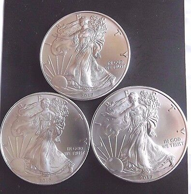 Lot of 3 2017 American Silver Eagles 1oz Bullion Coin