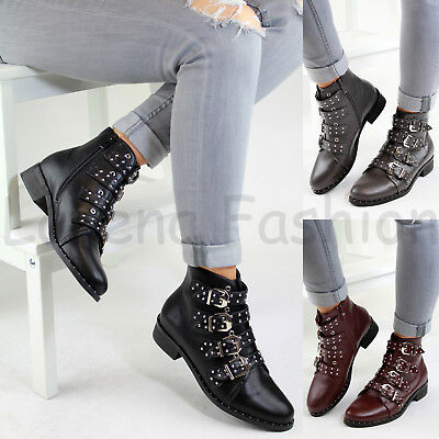 New Womens Ladies Studded Ankle Boots Buckle Zip Low Heel High Top Biker Shoes