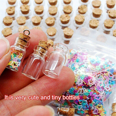 100x Clear Mini Small Cork Stopper Tiny Glass Vial Jars Containers Bottle Bulk U