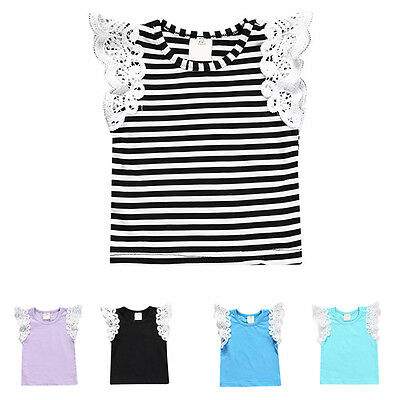 Newborn Baby Girls Infant Summer Vest T-shirt Lace Sleeve Tops Cotton Clothes