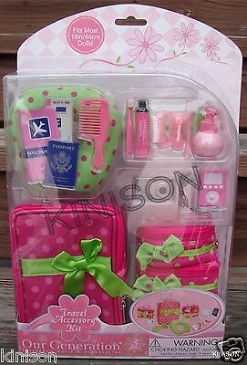 """Our Generation 18"""" Doll Pink Luggage and Travel Accessory Set Wheeled ~ ORIGINAL"""
