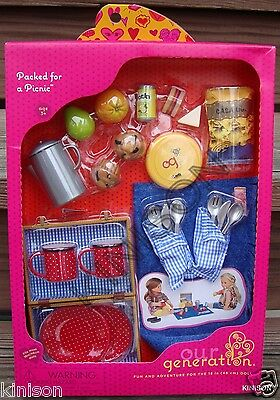 """Our Generation 18"""" Doll Packed for a Picnic Basket Chips Food"""