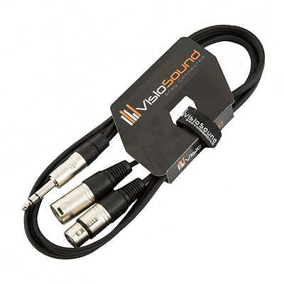 """6.35mm 1/4"""" Stereo Jack to 1 x Male & 1 x Female XLR Insert Lead with XLR In/Out"""