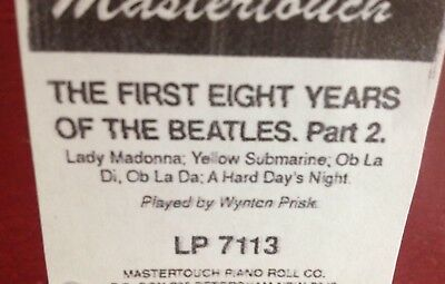 First Eight Years Of The Beatles   New  Long Play  Pianola  Player Piano Roll