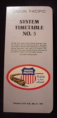 Union Pacific System Employee Timetable #5 1981 UP
