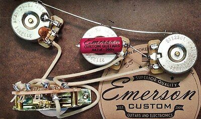 Emerson Custom Prewired Kit S5 Strat 5 way 500k Blender Pot fits to Strat ®