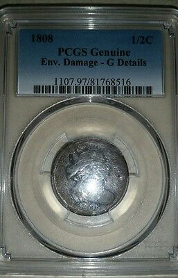 1808 Draped Bust Copper Half Cent 1/2C - PCGS Good Details -