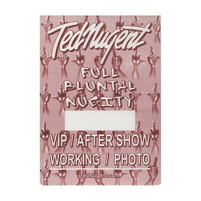 Ted Nugent authentic 2000 Full Bluntal Nugity Tour satin Backstage Pass VIP red