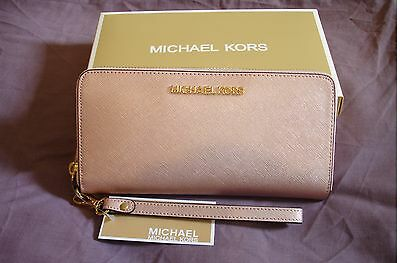 Brand New 100% Genuine Michael Kors Women Rose Gold Leather Wallet Purse