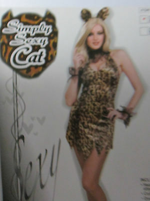 Ladies XS / Small 5 piece Simply Sexy Cat Halloween Costume New Package Kitten