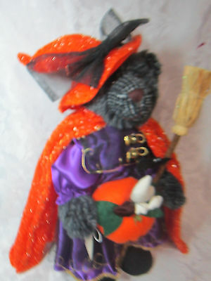 Halloween Decoration Plush Teddy Bear Dressed Up As A Witch Trick-Or-Treat Ghost