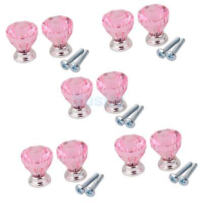 10Pieces Glass Cabinet Door Drawer Pull Handle Knob Modern Pull Handle Pink