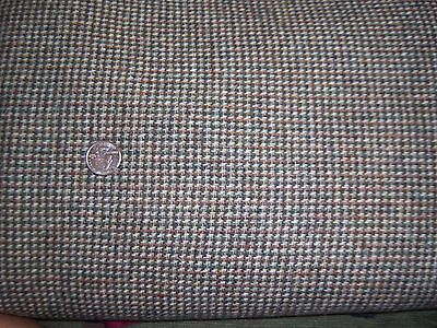 Vtg Pure Wool Fabric Material Houndstooth Med-Heavy Weight 4 Y x 60 Brown Green