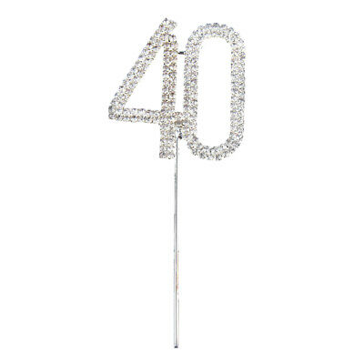 40Th Birthday Diamante Cake Topper Decoration 40 Th Silver Number Anniversa N7Z3