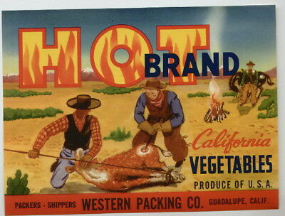 HOT Vintage Western Vegetable Crate Label, Cowboy, Prairie, *AN ORIGINAL LABEL*