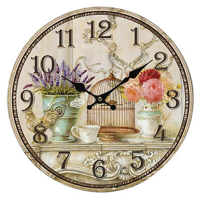 Vintage Shabby Chic Style 34cm Wall Clock Home Bedroom Kitchen Quartz O5L5