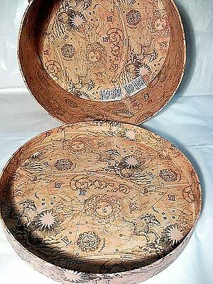 "VINTAGE ROUND PATTERNED HAT BOX size: 6"" x 12 3/4"" UNISEX Pre owned FREE Shipn"