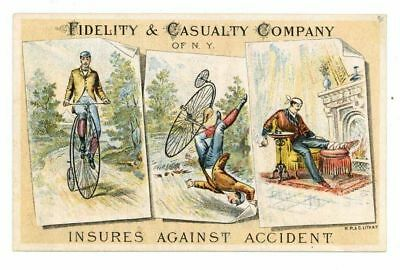 FIDELITY & CASUALTY COMPANY Insurance,  Victorian Trade Card, 324, Bicycle Crash