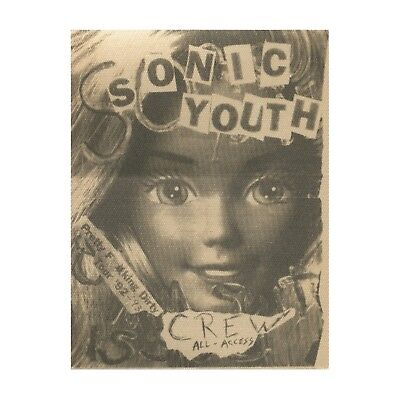 Sonic Youth authentic Crew 1992-1993 tour Backstage Pass
