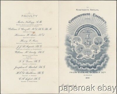 1891 Invitation To Commencement California College of Pharmacy