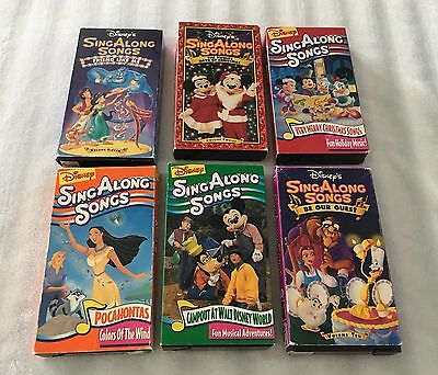 Lot Of 6 Disney Sing Along Songs - Vhs Musical Videos - Christmas Pocahontas +