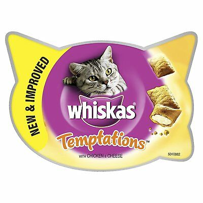 Whiskas Temptations Cat Treats with Chicken and Cheese, 60 g - Pack of 8