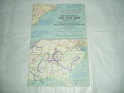 Vintage National Geographic Society Map Battlefields of Civil war 1961