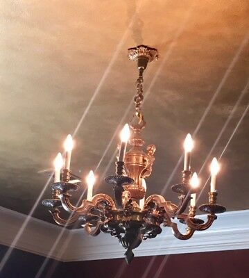 Vintage French Bronze Chandelier with cherubs