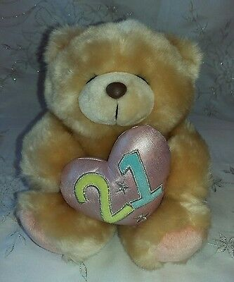 "Forever Friends 21st Birthday 8"" Bear Heart Hallmark Cards Excellent Condition"