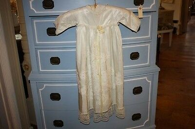 Vintage Baby Christening Gown & Slip Beaded Front Lace Trim Silk Off White Shade