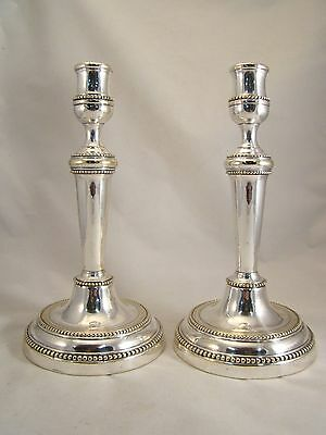 Rare Pair French Antique Silvered Louis XVI period Candlesticks 18th.C. Pearl