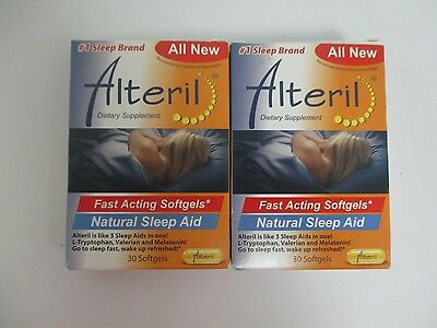 2 Alteril Fast Acting Natural Sleep Aid - 30 Softgels - Exp: 10/17+ Dn 363